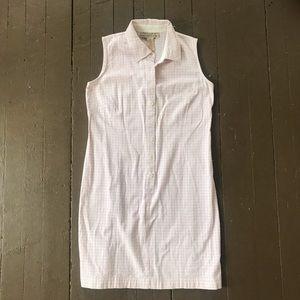 Vintage 90s pink plaid sleeveless midi dress
